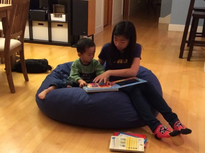 reading on a bean bag chair