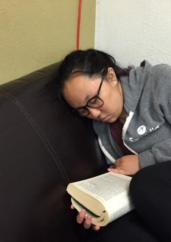 student reading sleeping