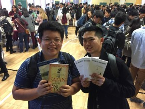happy customers with books